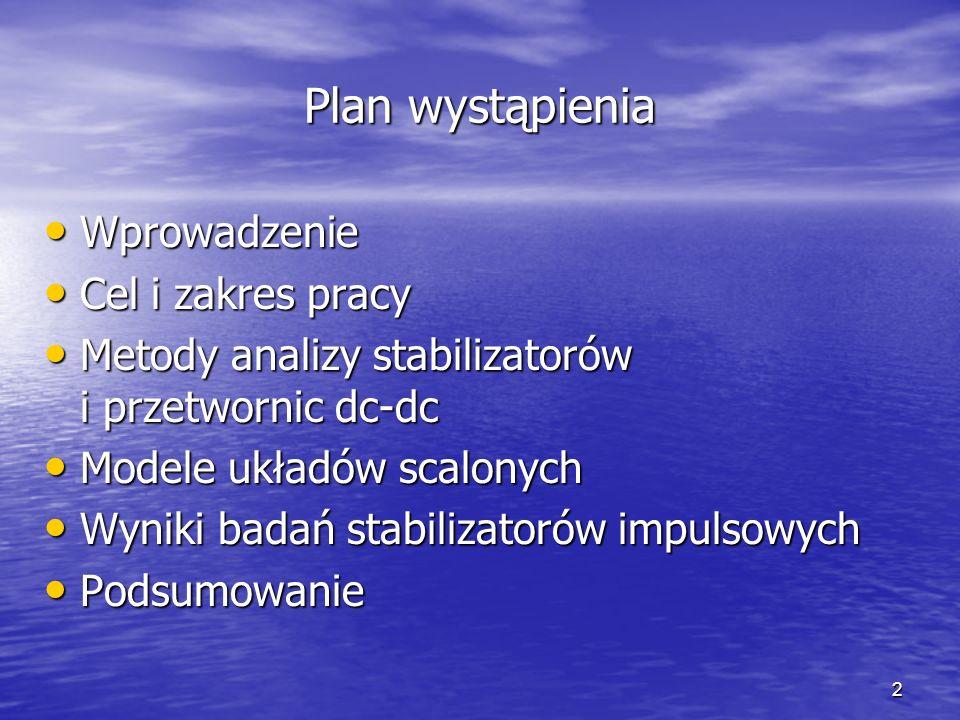 Plan wystąpienia Wprowadzenie Cel i zakres pracy