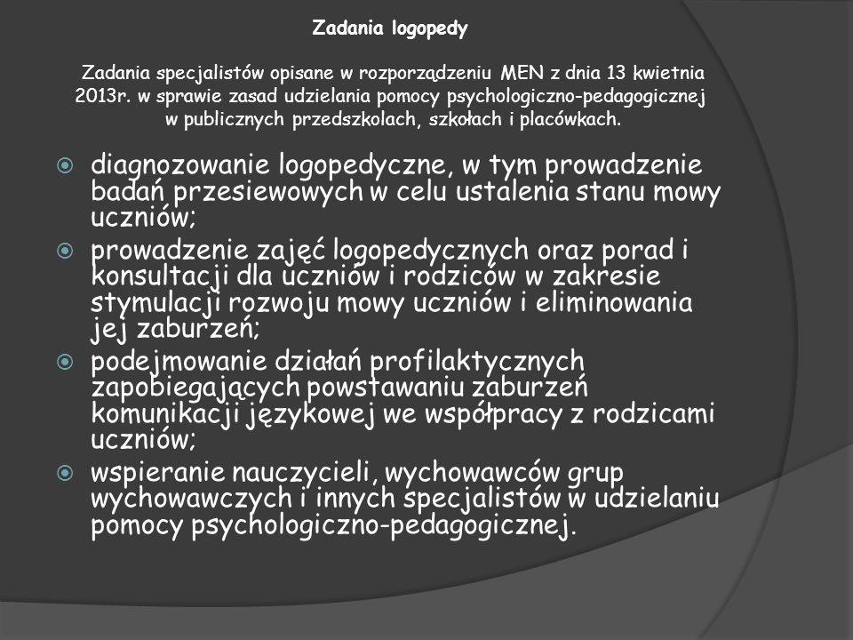 Zadania logopedy Zadania specjalistów opisane w rozporządzeniu MEN z dnia 13 kwietnia 2013r. w sprawie zasad udzielania pomocy psychologiczno-pedagogicznej w publicznych przedszkolach, szkołach i placówkach.