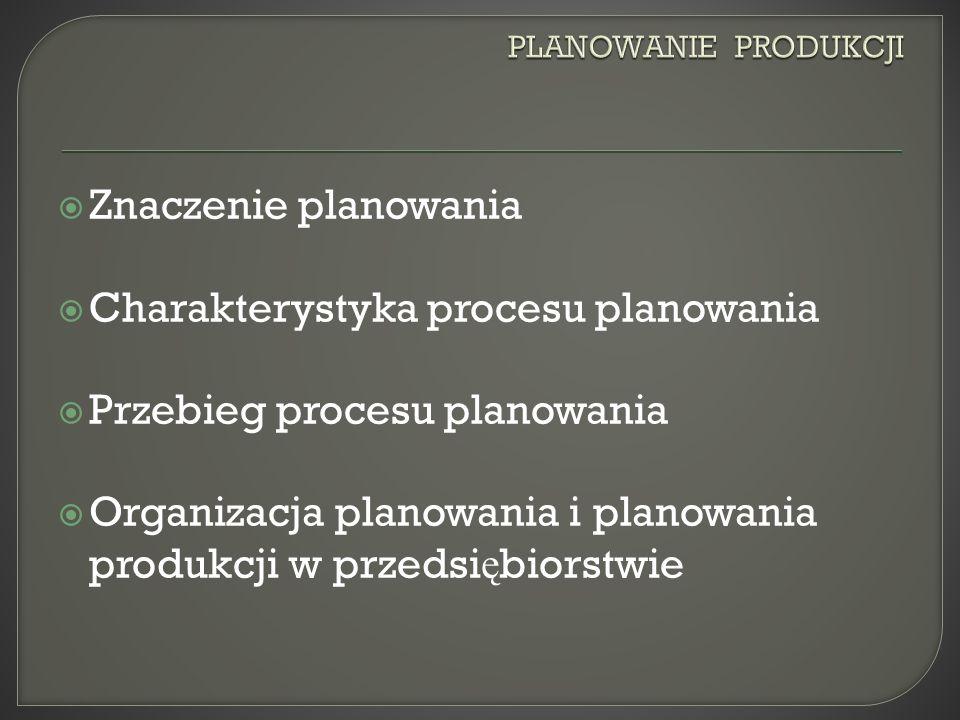Charakterystyka procesu planowania Przebieg procesu planowania