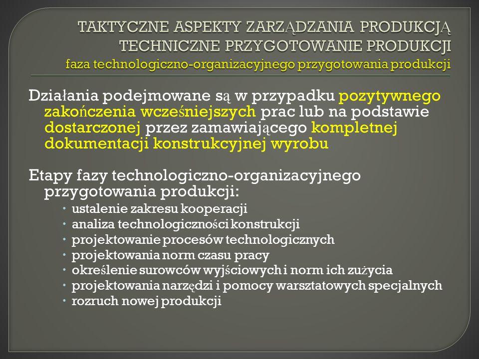 Etapy fazy technologiczno-organizacyjnego przygotowania produkcji: