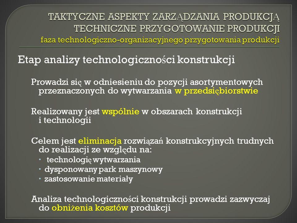 Etap analizy technologiczności konstrukcji