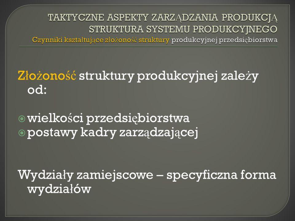 Złożoność struktury produkcyjnej zależy od: