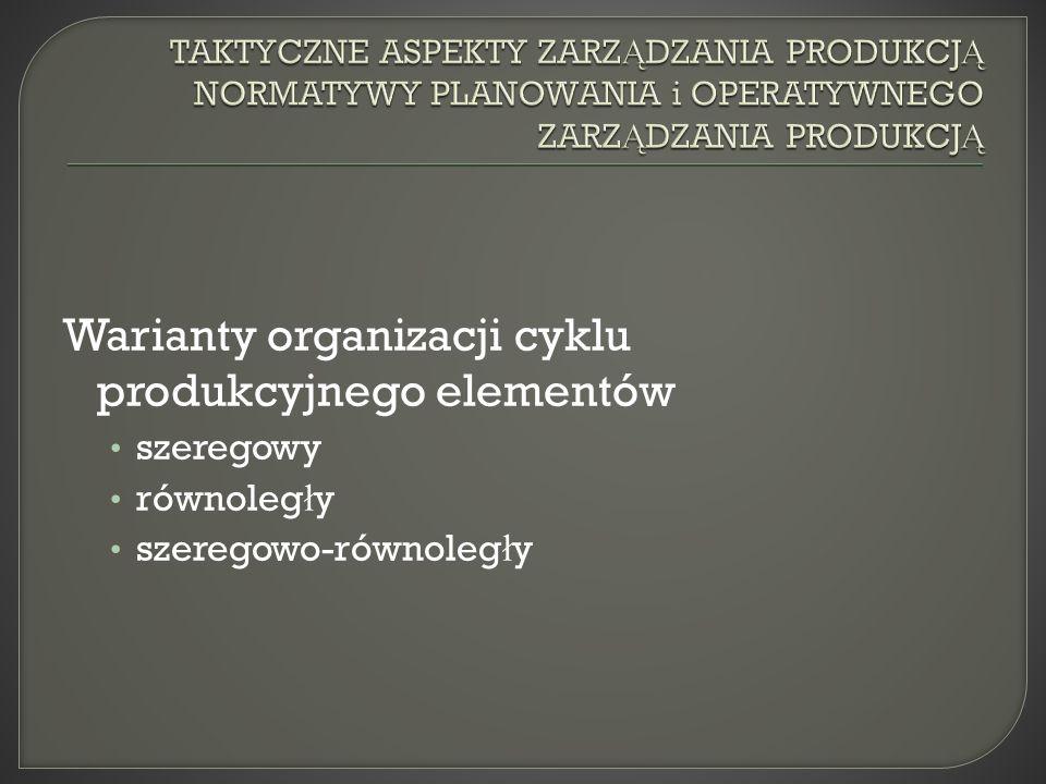 Warianty organizacji cyklu produkcyjnego elementów