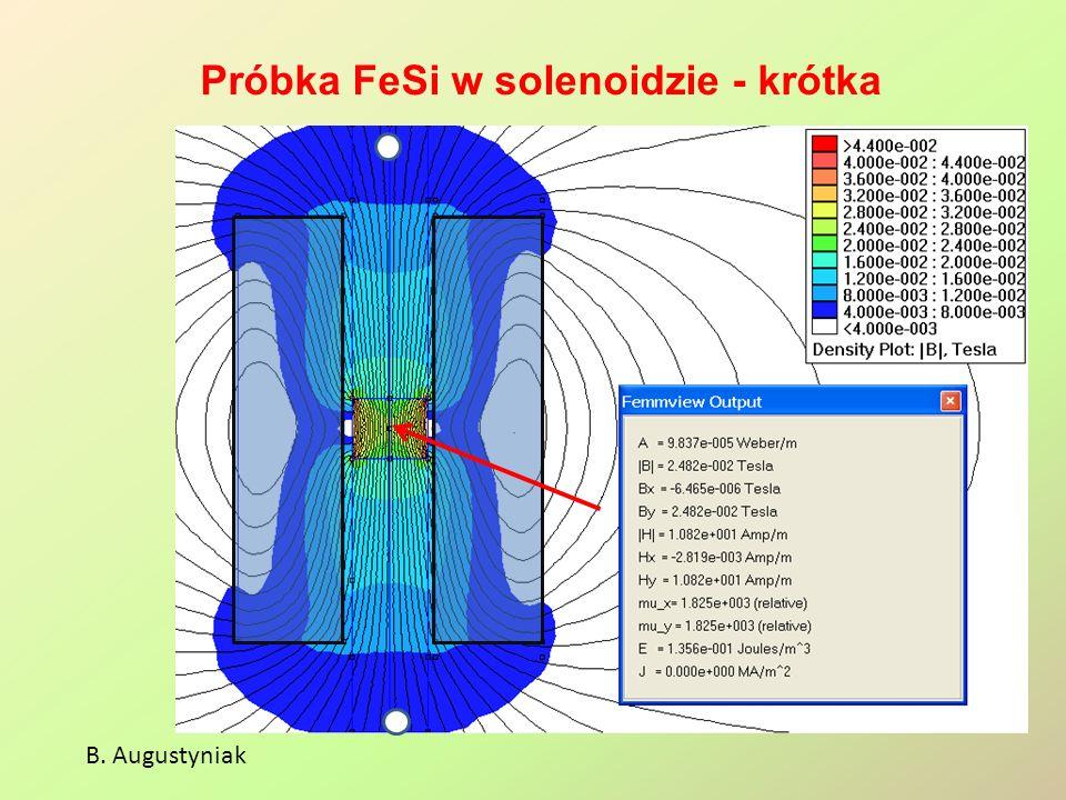 Próbka FeSi w solenoidzie - krótka