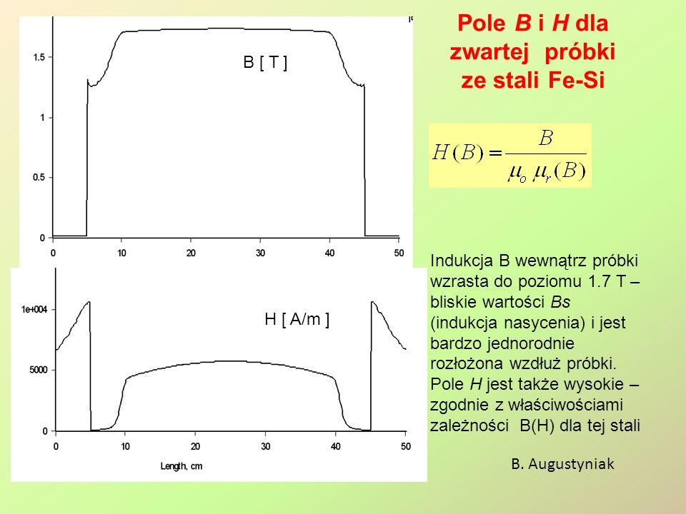 Pole B i H dla zwartej próbki ze stali Fe-Si