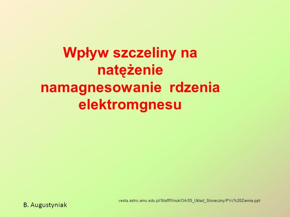 Wpływ szczeliny na natężenie namagnesowanie rdzenia elektromgnesu