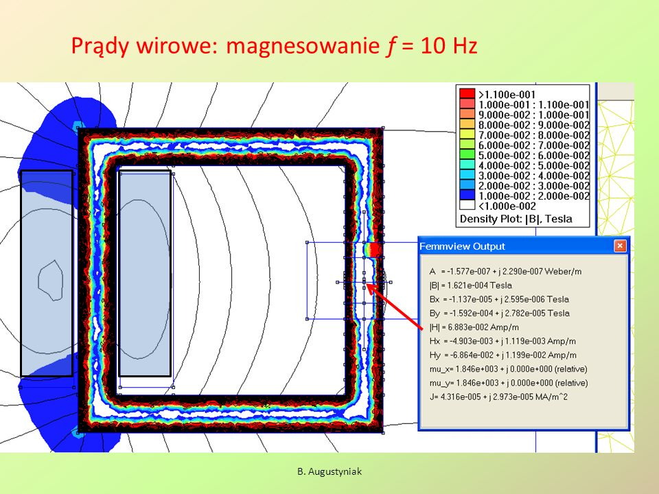 Prądy wirowe: magnesowanie f = 10 Hz