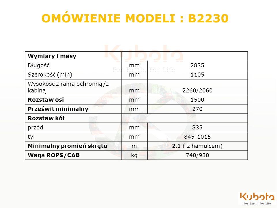 OMÓWIENIE MODELI : B2230 Wymiary i masy Długość mm 2835