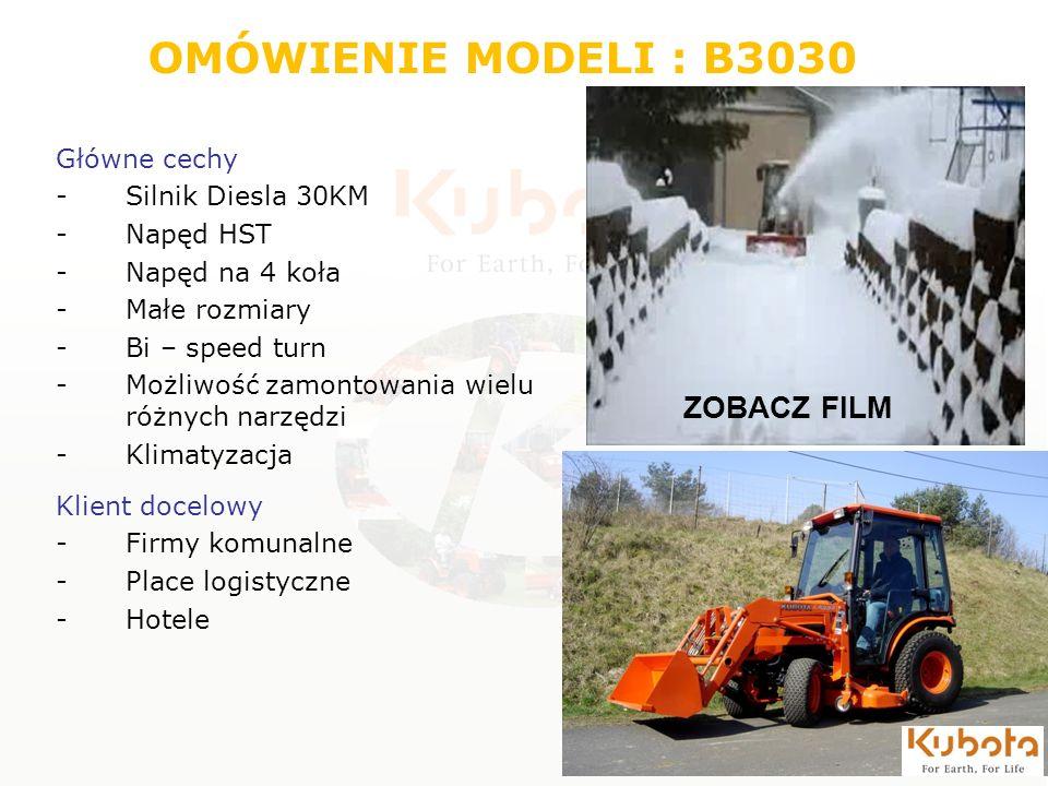 OMÓWIENIE MODELI : B3030 ZOBACZ FILM Główne cechy Silnik Diesla 30KM