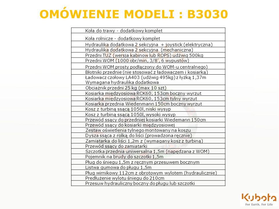OMÓWIENIE MODELI : B3030 Koła do trawy - dodatkowy komplet