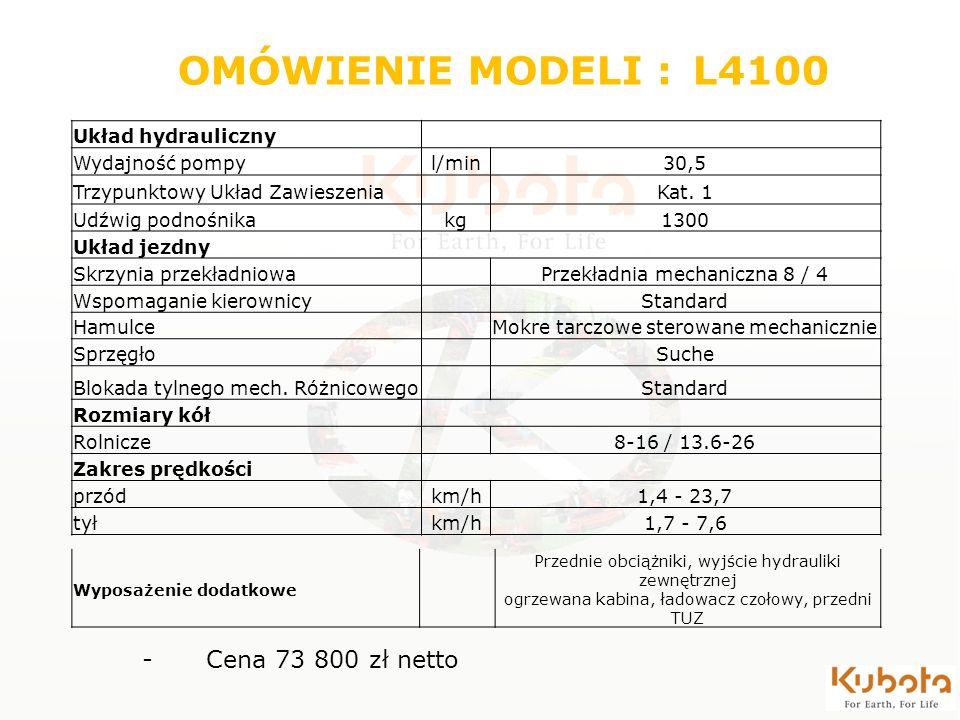 OMÓWIENIE MODELI : L4100 Cena 73 800 zł netto Układ hydrauliczny