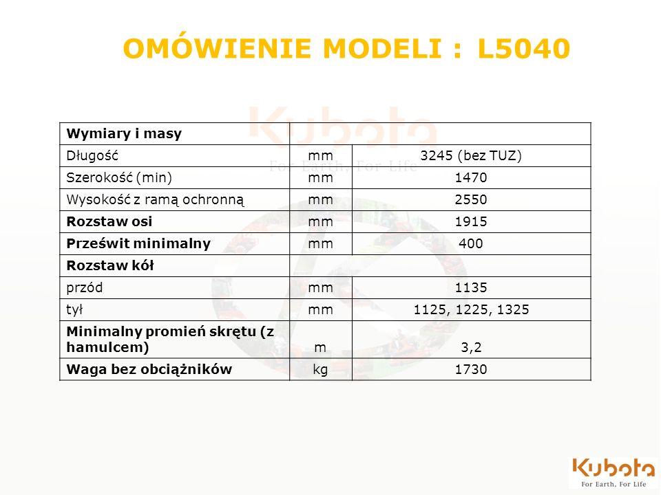 OMÓWIENIE MODELI : L5040 Wymiary i masy Długość mm 3245 (bez TUZ)
