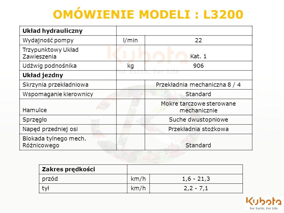 OMÓWIENIE MODELI : L3200 Układ hydrauliczny Wydajność pompy l/min 22