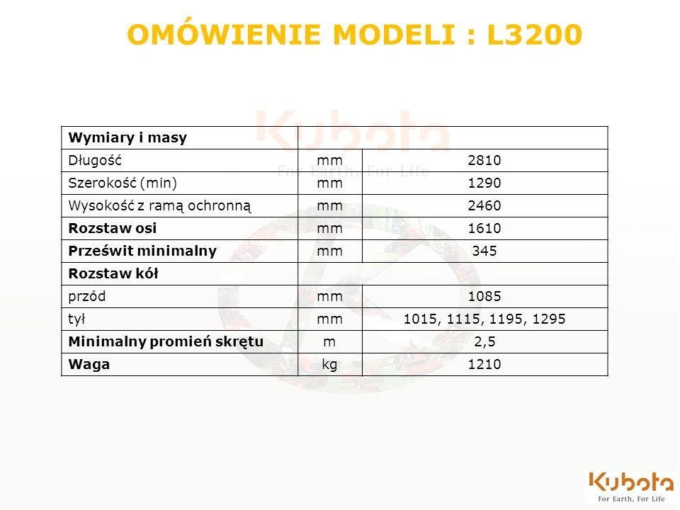 OMÓWIENIE MODELI : L3200 Wymiary i masy Długość mm 2810