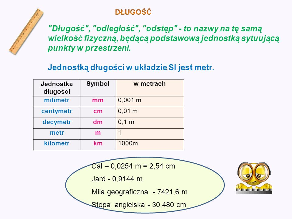 Jednostką długości w układzie SI jest metr.
