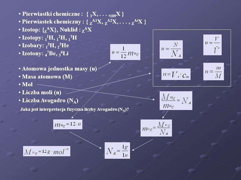 Pierwiastki chemiczne : { 1X, . . . ,109X }