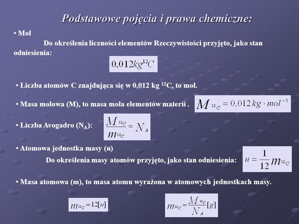 Podstawowe pojęcia i prawa chemiczne: