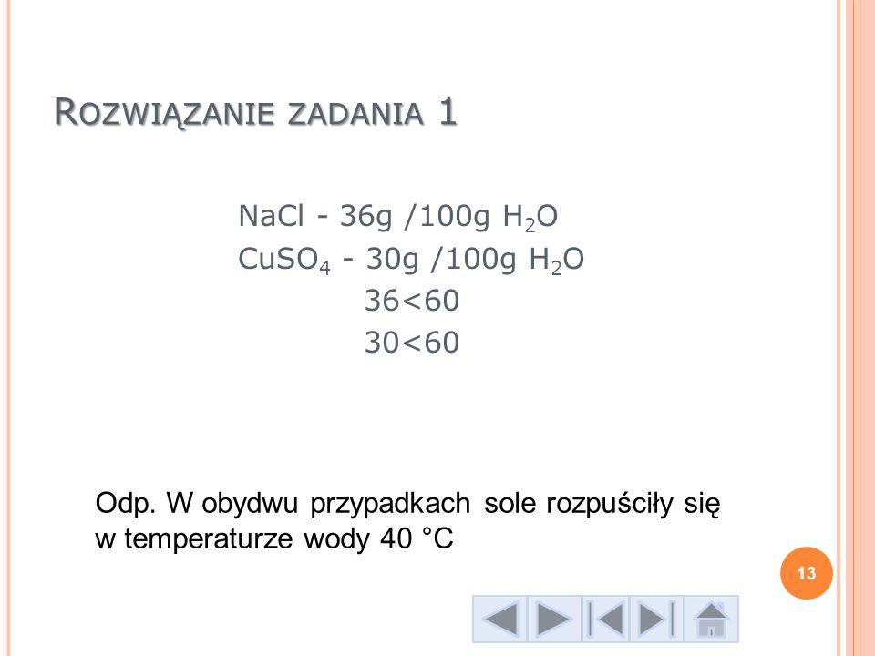NaCl - 36g /100g H2O CuSO4 - 30g /100g H2O 36<60 30<60
