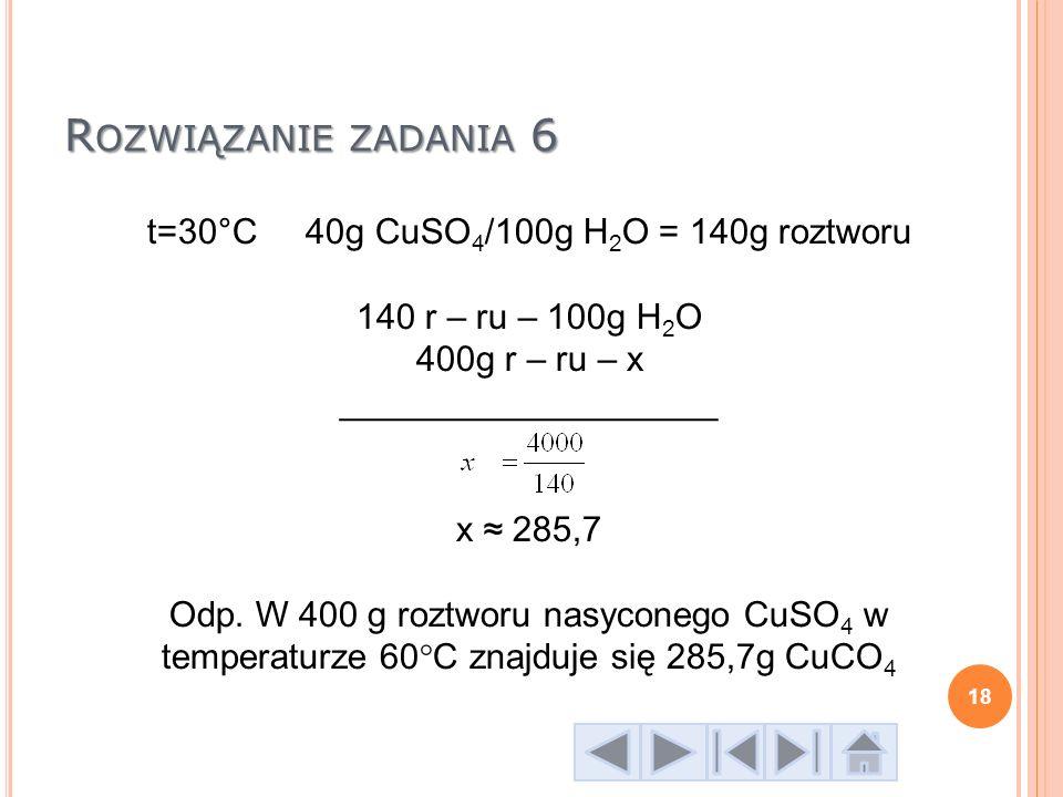 t=30°C 40g CuSO4/100g H2O = 140g roztworu