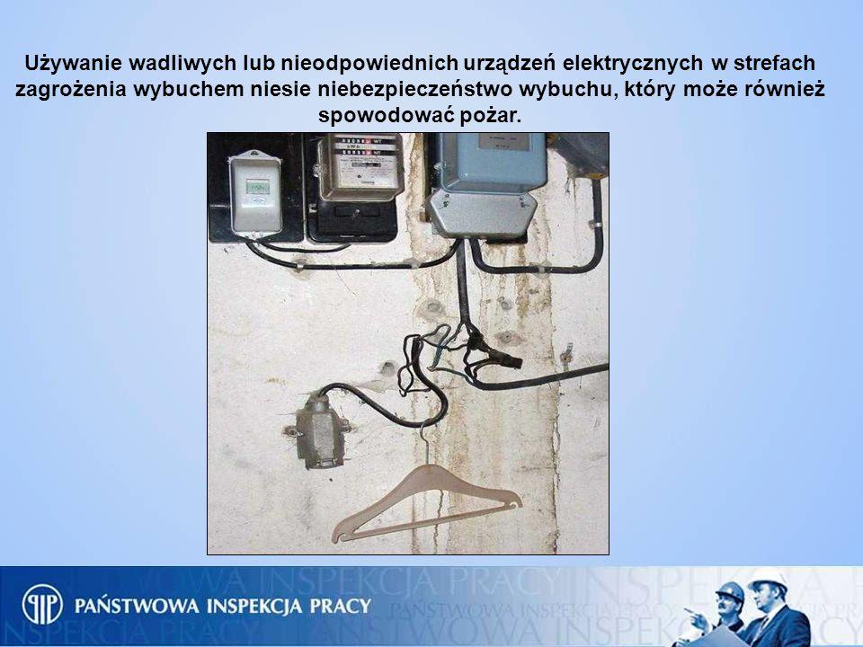 Używanie wadliwych lub nieodpowiednich urządzeń elektrycznych w strefach zagrożenia wybuchem niesie niebezpieczeństwo wybuchu, który może również spowodować pożar.