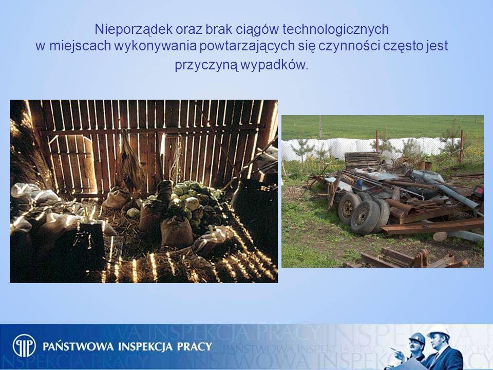 Nieporządek oraz brak ciągów technologicznych w miejscach wykonywania powtarzających się czynności często jest przyczyną wypadków.