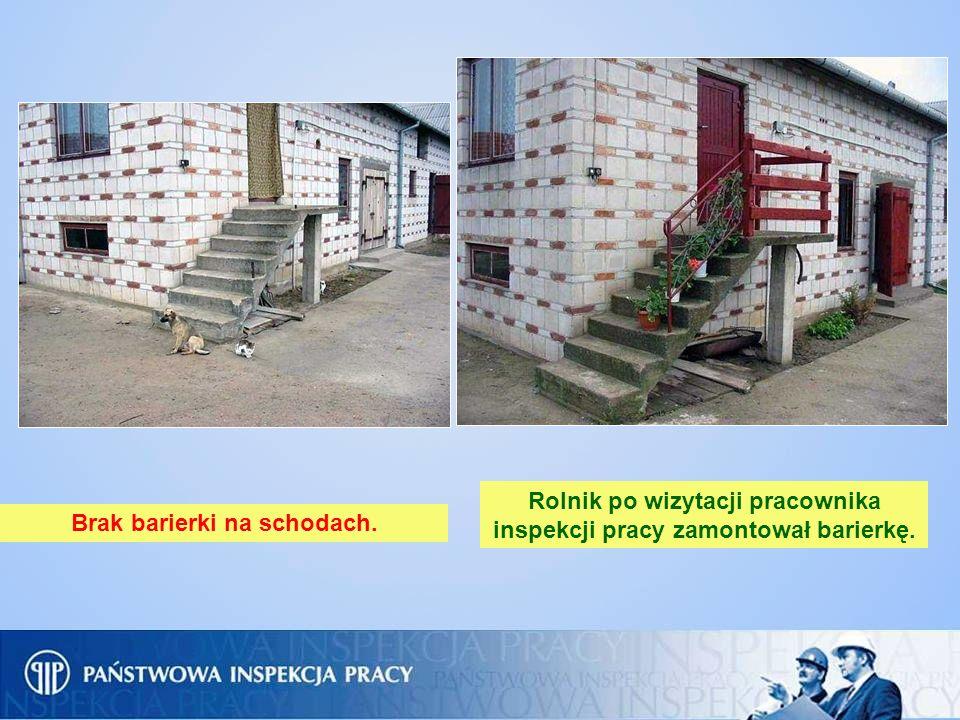 Rolnik po wizytacji pracownika inspekcji pracy zamontował barierkę.