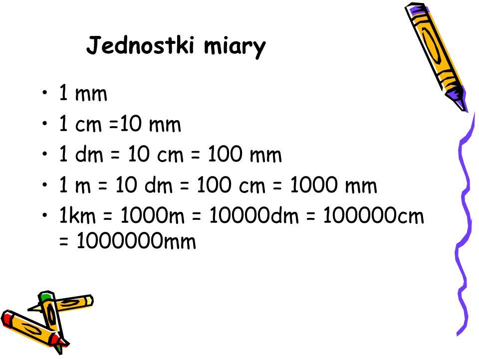 Jednostki miary 1 mm 1 cm =10 mm 1 dm = 10 cm = 100 mm