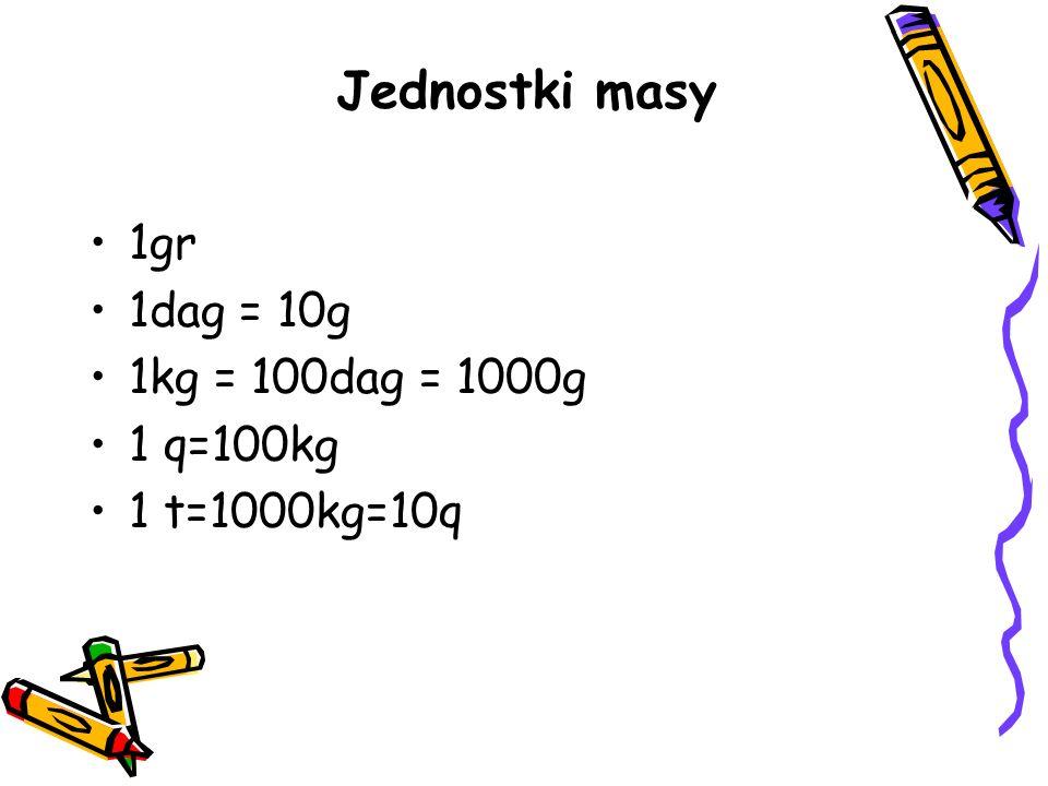 Jednostki masy 1gr 1dag = 10g 1kg = 100dag = 1000g 1 q=100kg