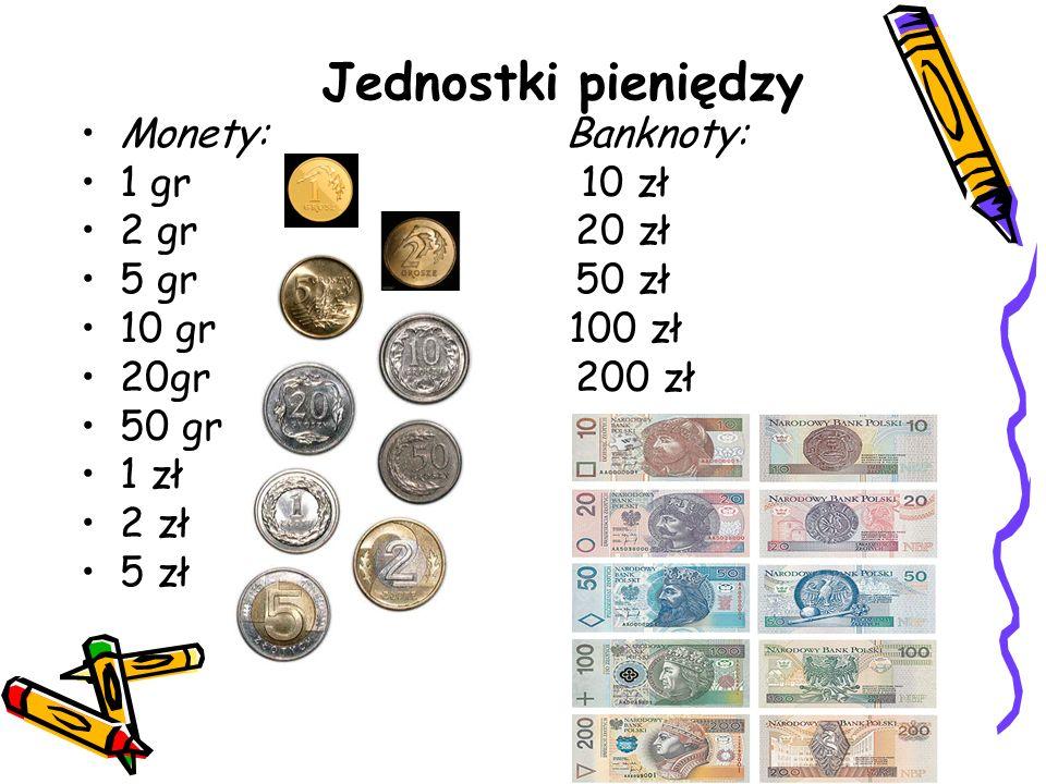 Jednostki pieniędzy Monety: Banknoty: 1 gr 10 zł 2 gr 20 zł 5 gr 50 zł