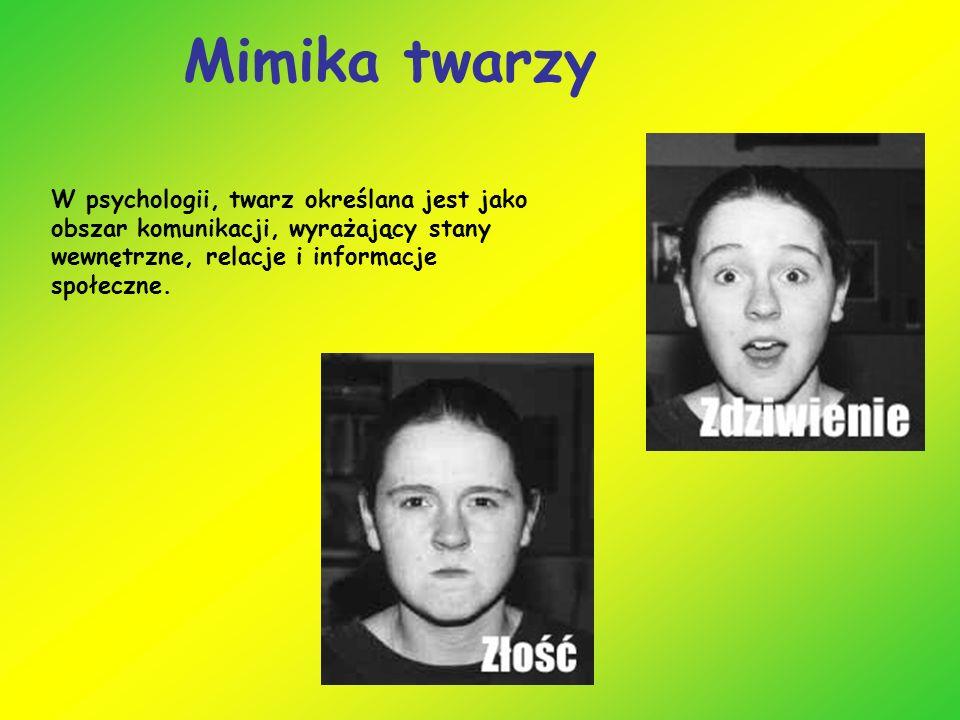 Mimika twarzy W psychologii, twarz określana jest jako obszar komunikacji, wyrażający stany wewnętrzne, relacje i informacje społeczne.