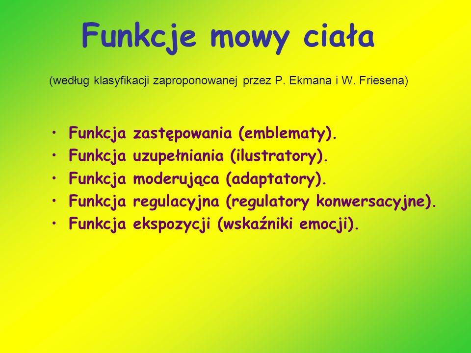 Funkcje mowy ciała (według klasyfikacji zaproponowanej przez P