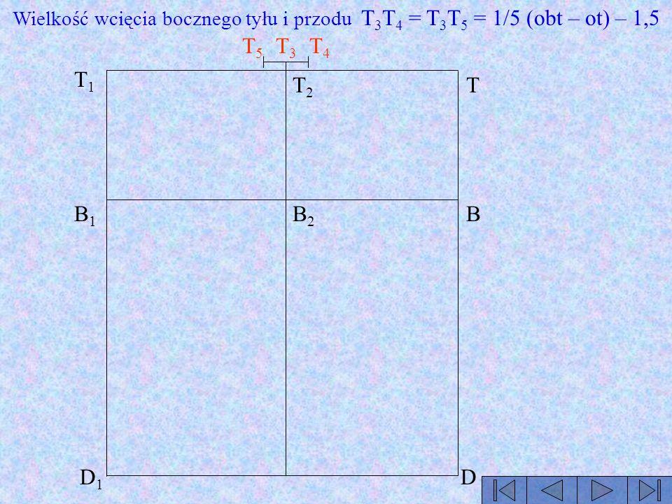 Wielkość wcięcia bocznego tyłu i przodu T3T4 = T3T5 = 1/5 (obt – ot) – 1,5