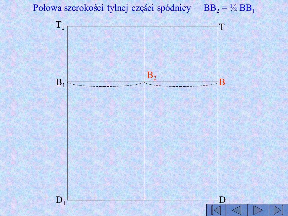 Połowa szerokości tylnej części spódnicy BB2 = ½ BB1