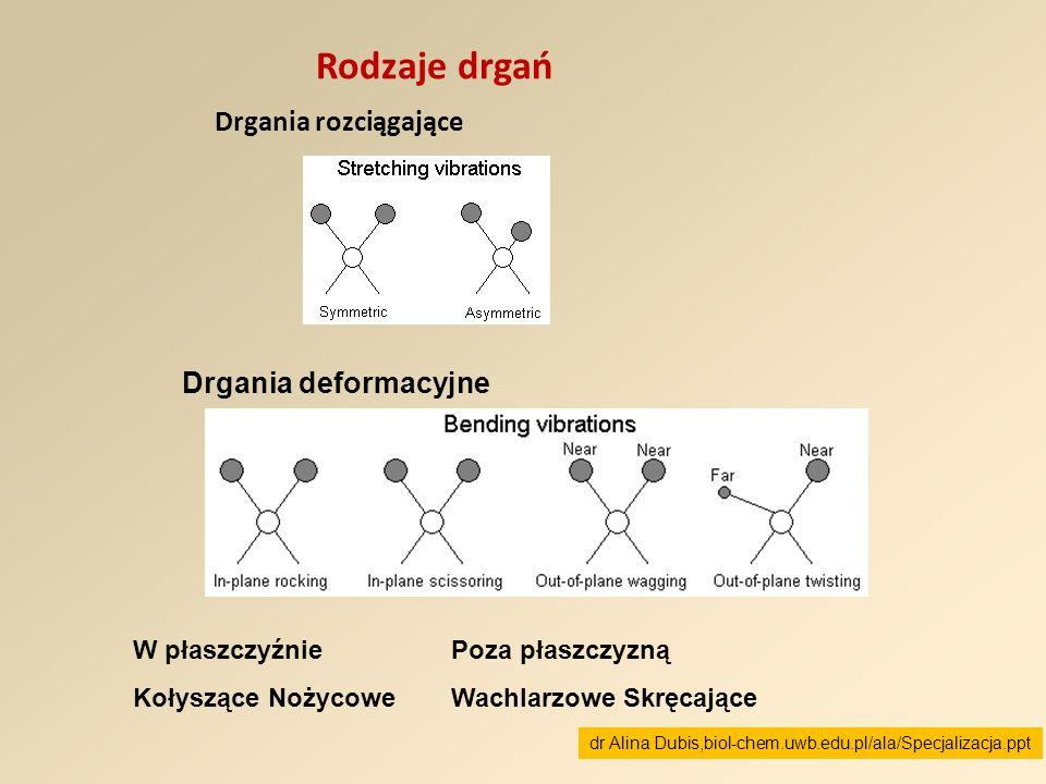 Rodzaje drgań Drgania rozciągające Drgania deformacyjne W płaszczyźnie