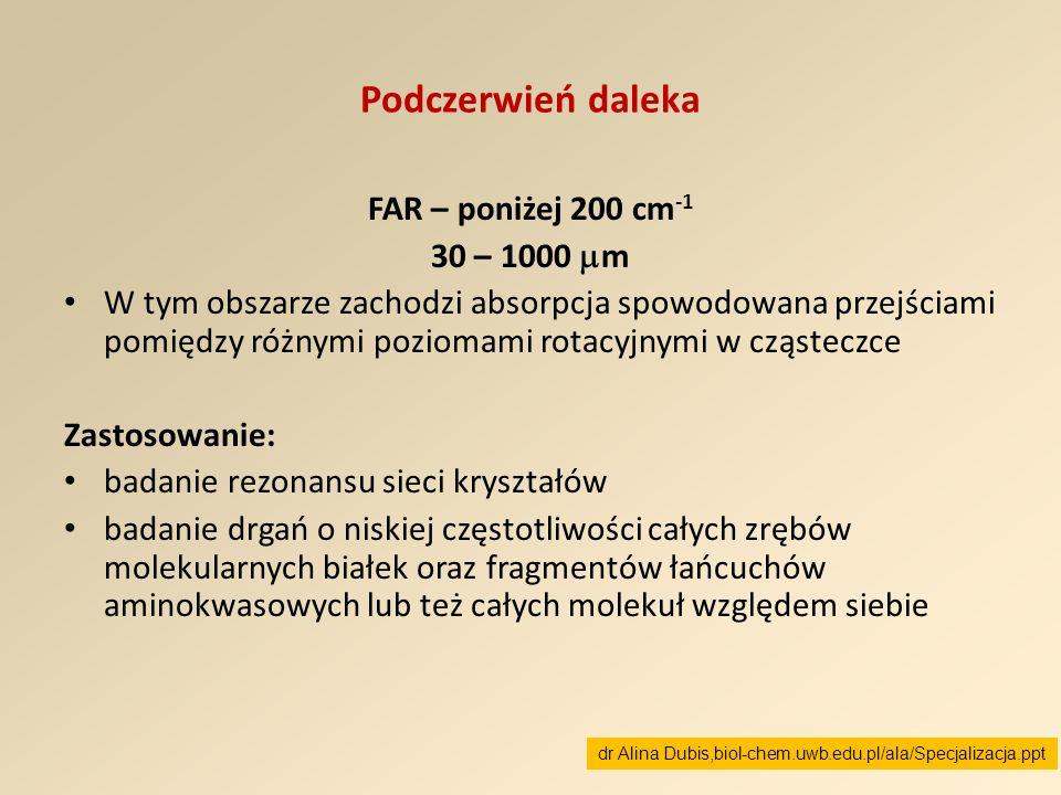 Podczerwień daleka FAR – poniżej 200 cm-1 30 – 1000 m