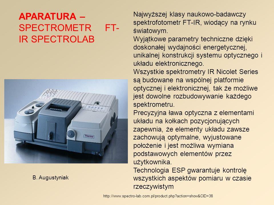 APARATURA – SPECTROMETR FT-IR SPECTROLAB