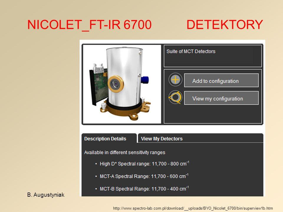 NICOLET_FT-IR 6700 DETEKTORY