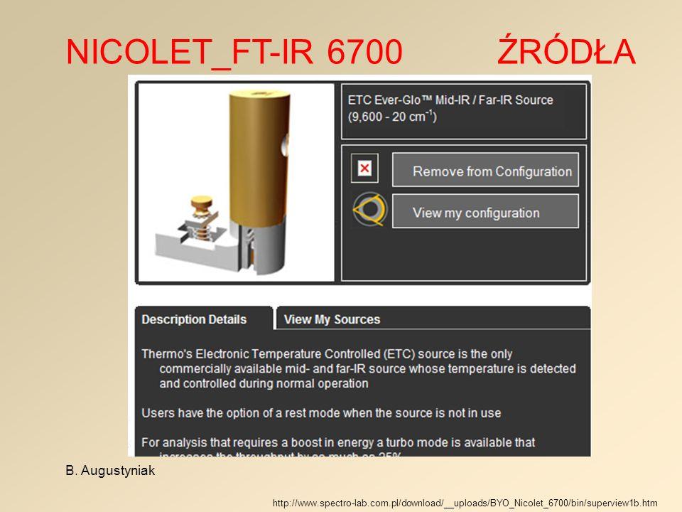 NICOLET_FT-IR 6700 ŹRÓDŁA B. Augustyniak