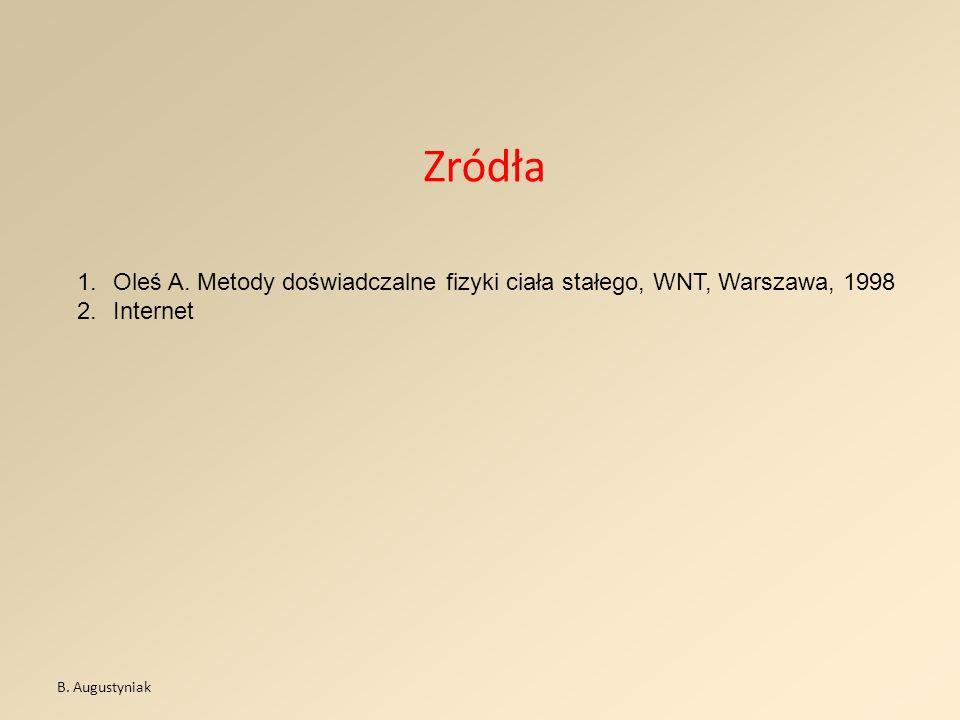 ZródłaOleś A.Metody doświadczalne fizyki ciała stałego, WNT, Warszawa, 1998.
