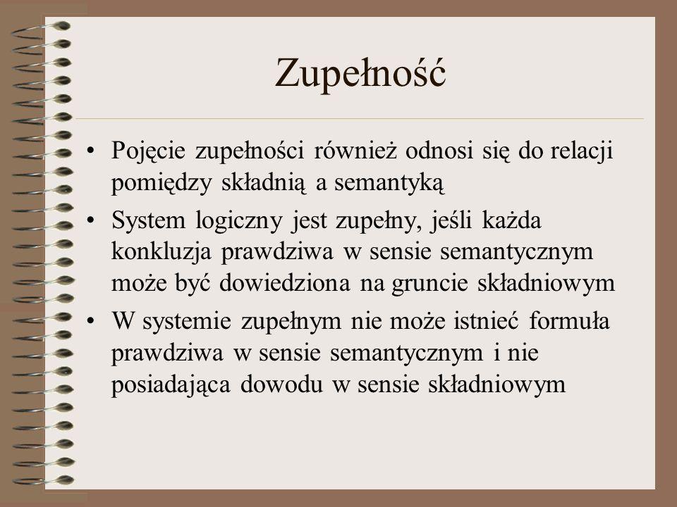 Zupełność Pojęcie zupełności również odnosi się do relacji pomiędzy składnią a semantyką.