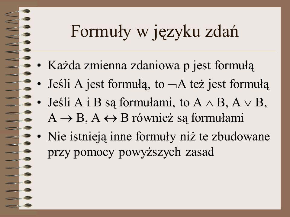 Formuły w języku zdań Każda zmienna zdaniowa p jest formułą