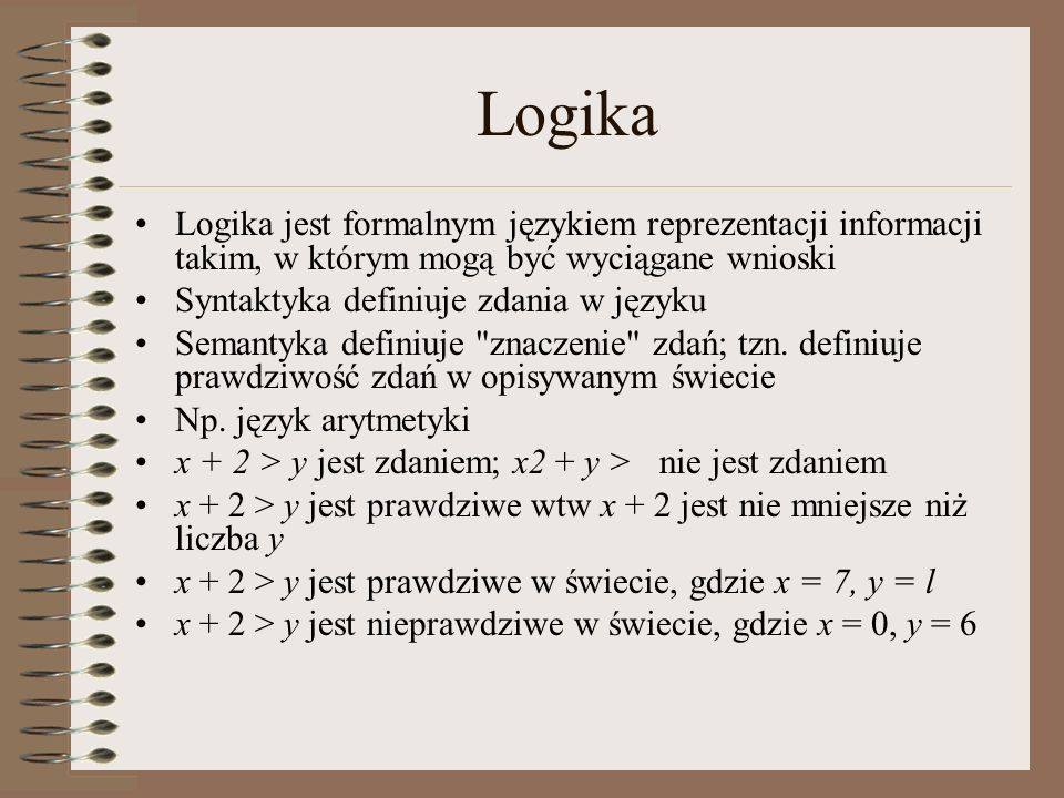 Logika Logika jest formalnym językiem reprezentacji informacji takim, w którym mogą być wyciągane wnioski.