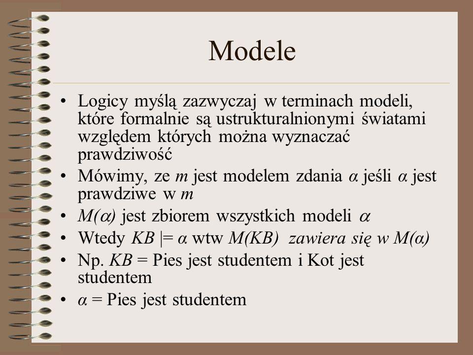 Modele Logicy myślą zazwyczaj w terminach modeli, które formalnie są ustrukturalnionymi światami względem których można wyznaczać prawdziwość.