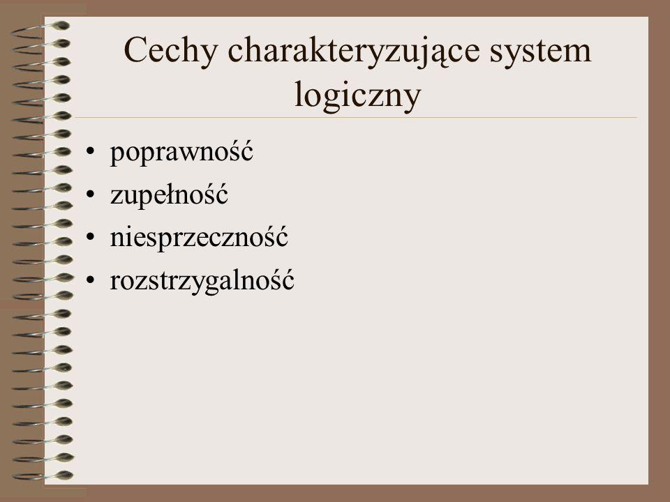 Cechy charakteryzujące system logiczny