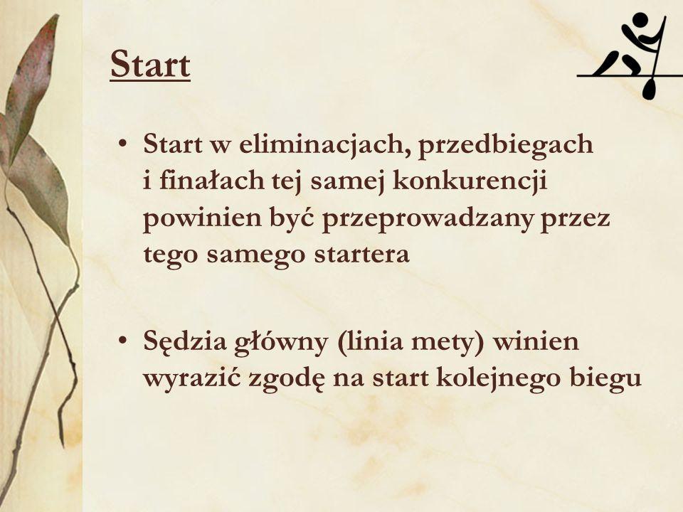Start Start w eliminacjach, przedbiegach i finałach tej samej konkurencji powinien być przeprowadzany przez tego samego startera.