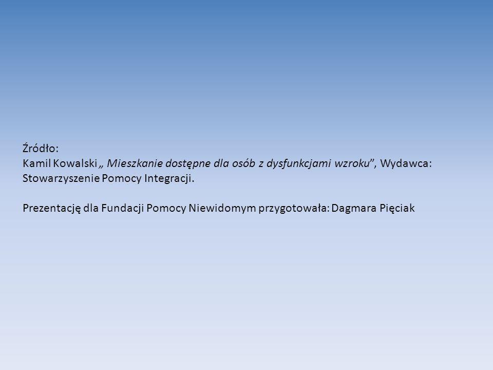 """Źródło: Kamil Kowalski """" Mieszkanie dostępne dla osób z dysfunkcjami wzroku , Wydawca: Stowarzyszenie Pomocy Integracji."""