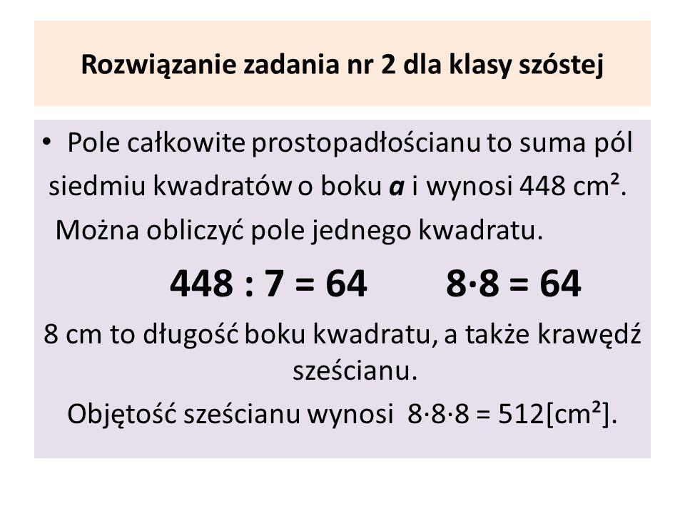 Rozwiązanie zadania nr 2 dla klasy szóstej