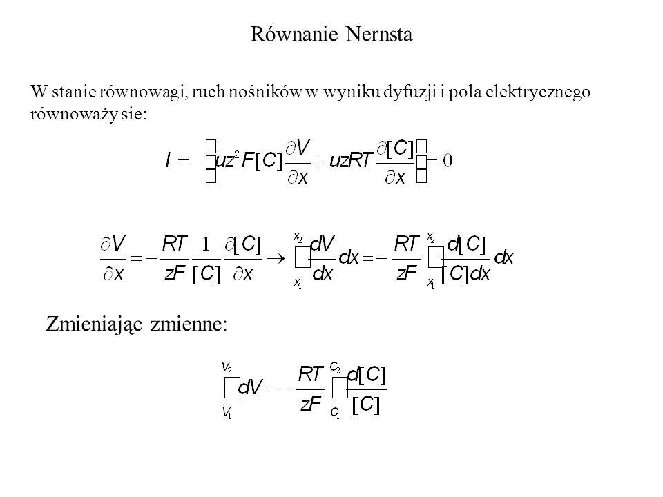 Równanie Nernsta Zmieniając zmienne: