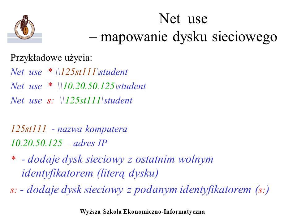 Net use – mapowanie dysku sieciowego