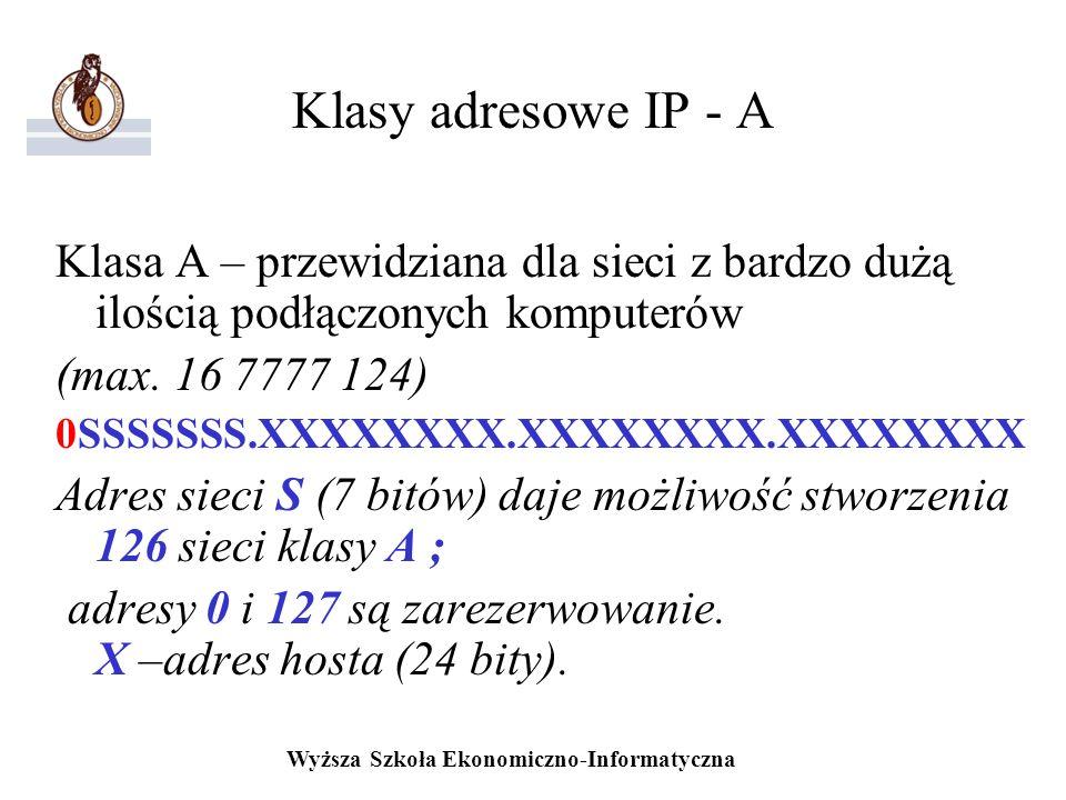 Klasy adresowe IP - A Klasa A – przewidziana dla sieci z bardzo dużą ilością podłączonych komputerów.